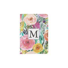 Romantic Garden Watercolor Flowers Monogram Passport Holder #passport #cover
