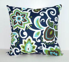Outdoor Throw Pillow Navy Blue Green Floral by LandofPillowsDotCom Floral Cushions, Floral Throw Pillows, Accent Pillows, Decorative Throw Pillows, Patio Pillows, Outdoor Throw Pillows, Sew Pillows, Porches, Outdoor Pillow Covers
