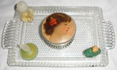 1940s VINTAGE Czechoslovakian Clear Cut Glass TRAY and by BYGONERA, $80.00