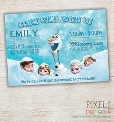 Frozen Birthday Invitation, Frozen Birthday Party, Frozen Invitation, Frozen Birthday Invitation, Disney Invitation, Elsa, Olaf, Frozen