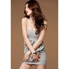 $6.85 Charming Flounced Solid Color Strapless Tube Dress For Women