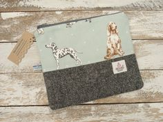 Harris Tweed Dog Makeup Bag Pouch Ladies Scottish by TheCrimsonCoo