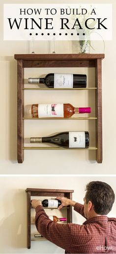 Such an elegant way to showcase and store your favorite bottles of wine! Wall-mounts and free standing wine racks are expensive, but this is one you can customize and design any way you'd like for cheap!  http://www.ehow.com/how_2003483_build-wine-rack.html?utm_source=pinterest.com&utm_medium=referral&utm_content=freestyle&utm_campaign=fanpage
