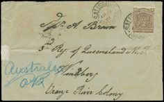 """Cap of G. Hope Anglo Boer War 61, 2c Brown, Australian Contingent, Salisbury Rhodesia, Ap 19 1901 postmark ties Rhodesian stamp to envelope, addressed """"3rd Reg of Queensland M.T."""" Windberg ORC. reverse with numerous transits including Bulawayo, Kimberley and Field Post Office 54, British S Africa, mail to Australian soldiers during the Boer War is very scarce with this being one of few from Rhodesia, Rare and Fine."""