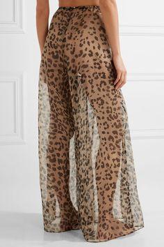 Rosamosario - Bossie Bye Leopard-print Silk-organza Pajama Pants - Leopard print - x small