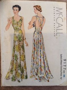 McCall 9177 Ladies Evening Dress 1937 B36 c/c 1937 good serviceable condition. Env fragile to fair significant shelf wear, tears discoloration from age.great sld 112.5+2.94 9bds 11/13/15