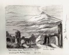 Next, I turned my attention to a huge painting, Thomas Cole's Mt. Etna from Toarmina, 1843. Same sketchbook, but this time using a Sanford Design 2B pencil.