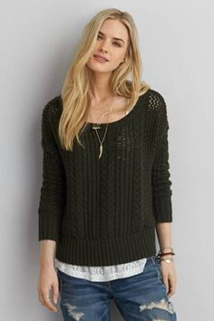 AEO Cable Knit Sweater  by AEO | Fall in love with a new layer, with open knit details for the perfect ending.  Shop the AEO Cable Knit Sweater  and check out more at AE.com.