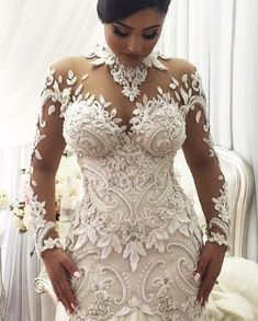 2020 Mermaid Wedding Dresses Nigeria High Neck Full Back Dubai Arabic Castle Bridal Gowns Plus Size Long Sleeve Wedding Dress Wedding Dress Necklace, Lace Mermaid Wedding Dress, Dream Wedding Dresses, Bridal Dresses, Wedding Gowns, Bridesmaid Dresses, Lace Dresses, Prom Dresses, Mermaid Dresses