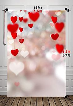 5x7ft Red Heart Photography Backdrops Photo Props Studio Background For Valentine Day Xt-5157