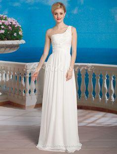 Bridesire - Etui-Linie One Chiffon bodenlang Shoulder Brautkleid [378541] - €114.20 : Bridesire