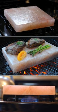 Food Tool Friday: Why You Need to Cook on a Himalayan Salt Block « Food Hacks Cooking Gadgets, Cooking Tools, Kitchen Gadgets, Cooking Recipes, Kitchen Tools, Cooking Fish, Cooking Classes, Cooking Prawns, Kid Cooking