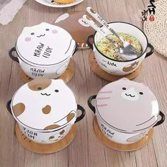4 Colors Kawaii Cat Ceramics Bowl - Material: made of ceramics - Color: White/ Yellow/ Grey/ Spot - Option: Bowl with fork/Bowl with spoon - Size: Cute Kitchen, Kitchen Items, Japanese Harajuku, Little Lunch, Pusheen Cat, Kawaii Cat, Kawaii Anime, Cute Mugs, Cute Food
