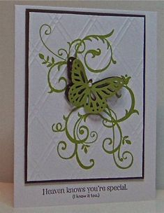 Stamps: Baroque Motifs, Blessings from Heaven   Paper: white, early espresso, lucky limeade   Ink: lucky limeade, early espresso   Accessories: Butterfly punch (MS), Argyle #2 embossing folder (sizzix), mini pearl   Techniques: dry embossing, paper piercing