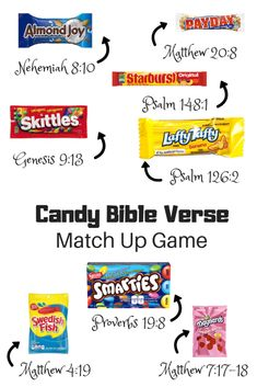 Halloween Candy Bible Verse Match Up Game - Out Upon the Waters Bible Object Lessons, Bible Lessons For Kids, Bible For Kids, Bible Games For Youth, Christian Halloween, Christian Kids, Christian Games For Youth, Church Activities, Bible Activities