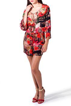 Shahida Parides Poppy Red Designer Romper