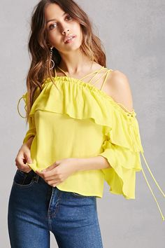 A crinkled woven crop top featuring a strappy shoulder design, flounce layer, and 3/4 tiered bell sleeves.<p>- This is an independent brand and not a Forever 21 branded item.</p>