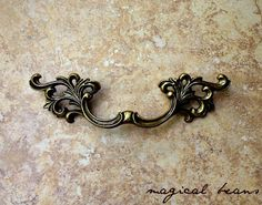 X-Large Antiqued Brass French Pull by Keeler Brass Company
