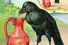 Illustration for one of Aesop's Fables, The Crow and the Pitcher, ca.1880s