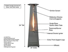 True-Commercial Stainless-Steel 3-Sided Pyramid Style Quartz Tube Patio Heater with Wheels (LP) Propane