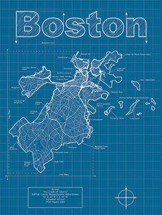 Boston Artistic Blueprint Map by MapHazardly on Etsy, $30.00