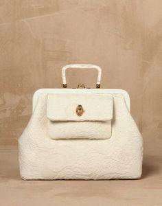 Borsa pochette bianca In tessuto jacquard Dolce & Gabbana