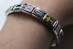 Italian charm bracelet with a selection of flag charms