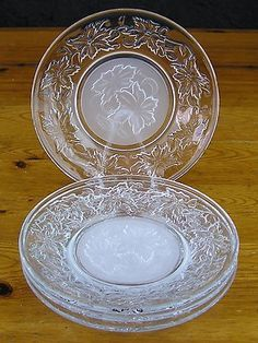 $30.00 - 4 Princess House Crystal Fantasia Floral 6\  Round Bread \u0026 Butter Plate Set & Vintage Princess House Crystal Fantasia Pattern (2) Tier Server in ...