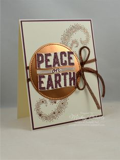 Blog Post Date:  August 3, 2017.  An elegant Christmas greeting.  Elements of this card include:  Carols of Christmas stamp set, Copper Trim, Copper Foil Sheets, Copper Stampin' Emboss Powder, Thick Very Vanilla cardstock, Stitched Shapes Framelits for the Big Shot, and the colors of Fresh Fig, Copper, and Very Vanilla.