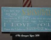 Items similar to You are my Sunshine -typography word art, hand painted shabby chic subway art , cottage style sign on Etsy. , via Etsy.
