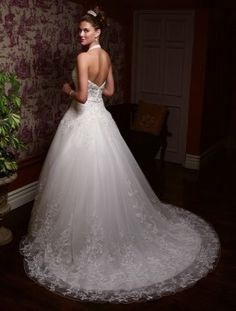 Casablanca Bridal 1930 Halter Tulle Wedding Dress (Alternate Angle)