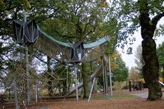 Adventure Playground at Preston Park in Eaglescliffe, UK. Playground design and equipment by Kompan.