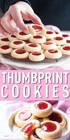 Jam Thumbprint Cookies: We've been making these for decades, they're so soft they almost melt in your mouth! Tender cream cheese cookies with a dollop of sweet & fruity jam. Jam Thumbprint Cookies: W Fun Baking Recipes, Easy Cookie Recipes, Sweet Recipes, Dessert Recipes, Delicious Desserts, Yummy Food, Pastries Recipes, Jelly Cookies, Jam Cookies