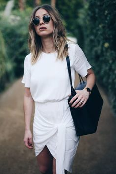 White wrap dress STYLESTALKER, blonde beachy waves long bob #vacation #palmsprings
