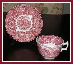 4 Vintage Enoch Woods and Sons Red Transferware by OutOfTimeAgain, $32.00 SOLD