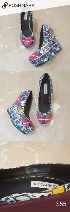 """Steve Madden Colorful  Graffiti Platform Heels I am selling a fun and super cool pair of Steve Madden platform heels.  The funky abstract print is everything you love about design. These heels exude a vibe sure to ignite your street creed ablaze.  I have worn these once and they look practically new, size 9.5 with a 1.5"""" sole under toes and a 5"""" platform heel, (it will  feel as though you are wearing a 3.5"""" heel.) Steve Madden Shoes Platforms"""