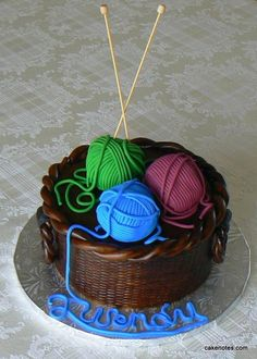 Knitting Cake-it would be a shame to have to cut into this work of art and actually eat it but my MIL just might like it...;)
