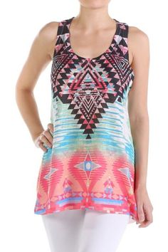 *** Glam Tribal Tank Top *** Glam Tribal Tank Top, printed tank top with low scoop neckline and elongated hem line detail.