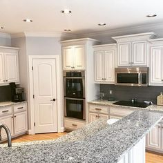 One of my favorite kitchens! This was a dark and dated space before. Grey Kitchens, Favorite Kitchen, Interior Decorating, Diy Furniture, Gray And White Kitchen, Grey Wall Decor, Grey Kitchen, Home Decor, Kitchen