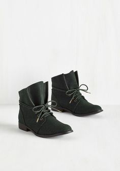Whole Java Love Bootie in Deep Teal - Green, Solid, Casual, Military, Good, Lace Up, Ankle, Low, Faux Leather, Variation