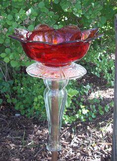 Glass bird feeder/bath