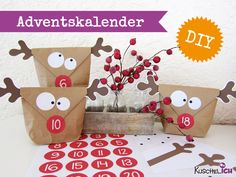 Advent Calendar - DIY ☆ Advent Calendar ☆ moose - a unique product by KuschelICH on DaWanda Christmas Calendar, Christmas Countdown, Winter Christmas, All Things Christmas, Christmas Holidays, Christmas Parties, Advent Calenders, Diy Advent Calendar, Theme Noel