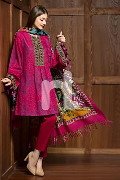 Embroidered Unstitched 3 Piece Karandi Pakistani Dress On A Discount Price For Shopping Online By Nishat Linen Winter Collection Pakistani Fashion Casual, Pakistani Dresses Casual, Pakistani Dress Design, Indian Fashion, Stylish Dresses, Simple Dresses, Casual Dresses, Eid Dresses, Pretty Dresses