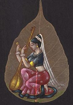 painting on peepal leaf art Mughal Paintings, Madhubani Painting, Indian Art Paintings, Leaf Paintings, Art Drawings Sketches Simple, Colorful Drawings, Drawing Painting Images, Dry Leaf Art, Indian Folk Art