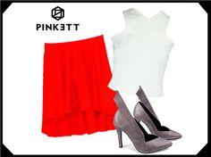 Niñas ya checaron esta falda asimétrica roja Te da un estilo súper girly! www.pinkett.com.mx