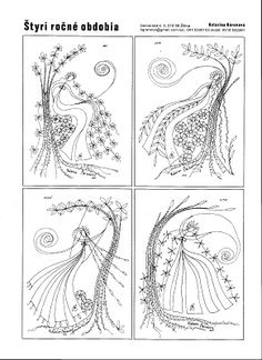 Predlohy na paličkovanie Katky Búranovej Bobbin Lace Patterns, Embroidery Patterns Free, Hand Work Embroidery, Lace Embroidery, Lace Art, Lacemaking, Point Lace, Lace Jewelry, Weaving Art