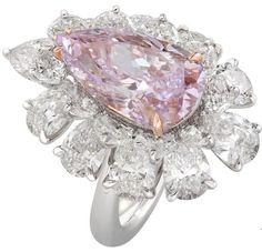 Nirav Modi's spectacular pink pear-shaped diamond ring.