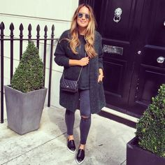 Blogger Style l Lou Hay Hay: green extra-long cardigan x green silk shirt x grey skinny jeans x pointed loafers x chanel woc bag