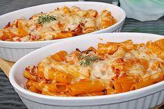 Rigatoni al forno - Essen - Pasta Pesto Pasta, Pasta Carbonara, Spaghetti Recipes, Pasta Recipes, Rigatoni Al Horno, Pizza Au Salami, Pizza Sans Gluten, Mince Dishes, Pan Relleno