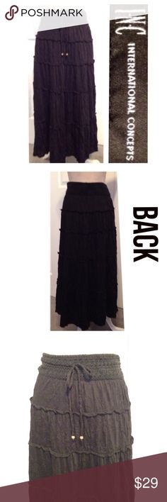 """INC, Textured Ruffled Stitched, Long Maxi Skirt INC, Gorgeous Long A Cut, Classic & Timeless Style Long Black Maxi Skirt. Easy wide elastic stretch waistband fit with designed adjustable tie straps. Waistband is crochet lace & skirt is textured fabric with sectional ruffled stitching around skirt to bottom hemline. Fabric is 65% Polyester & 35% Rayon with a built in soft Nylon Liner (see 4th pic). ✅Waist 31""""-34"""" & is 33"""" Long. I'm 5.5"""" & skirt falls at ankles. Looks Adorable with boots in…"""